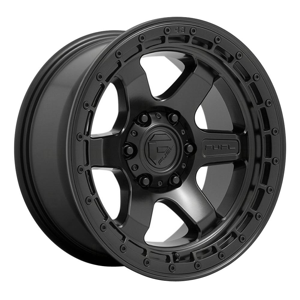Fuel Wheels D750 Block - Matte Black with Black Ring Rim