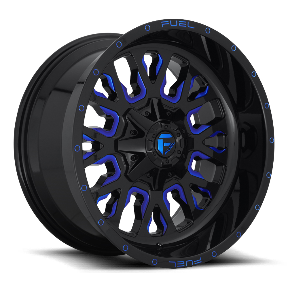 Fuel Wheels Stroke D645 - Gloss Black with Candy Blue