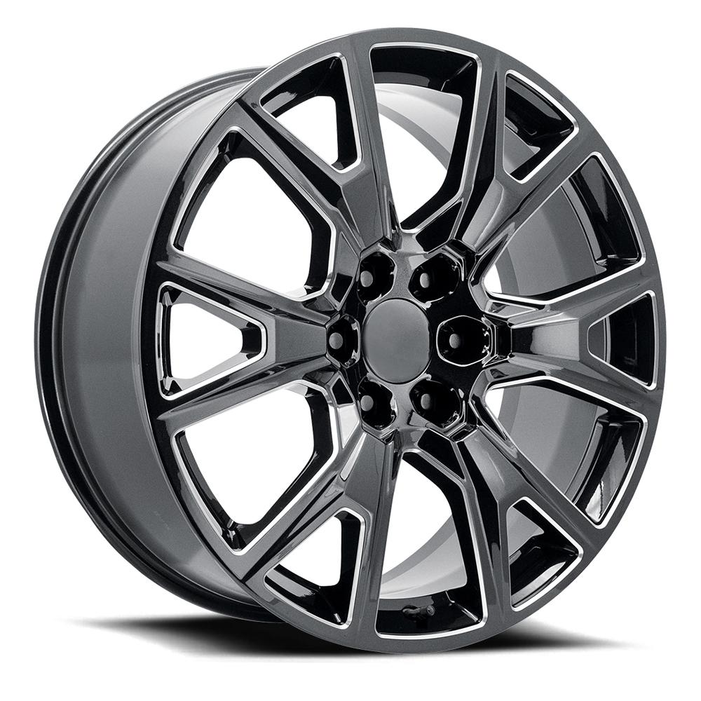 Topline Replica Wheels V1194 2020 Silverado Y Spoke - Gloss Black Milled Rim