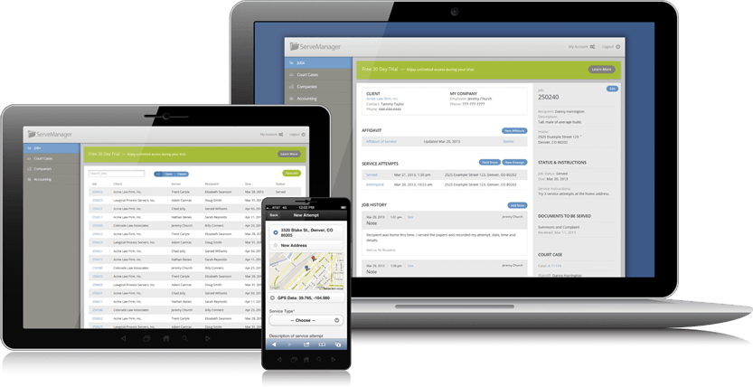 Process Server Software for Desktop, Tablet and Mobile.