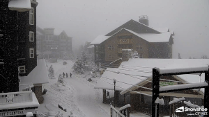 view of conditions at Snowshoe Village