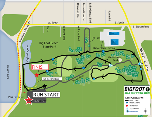 Bigfoot Trail Run's Course Map