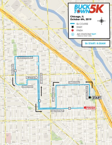 Bucktown 5k's Course Map