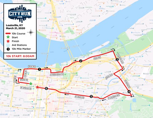 Chick-fil-A City Run 10k's Course Map