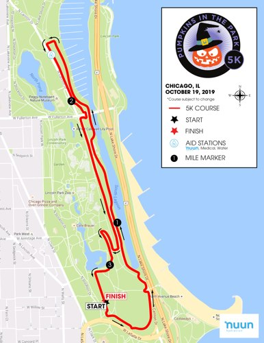 Pumpkins in the Park 5k's Course Map