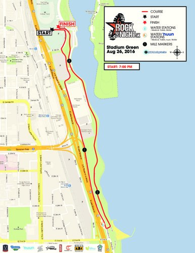 Rock the Night 5k's Course Map