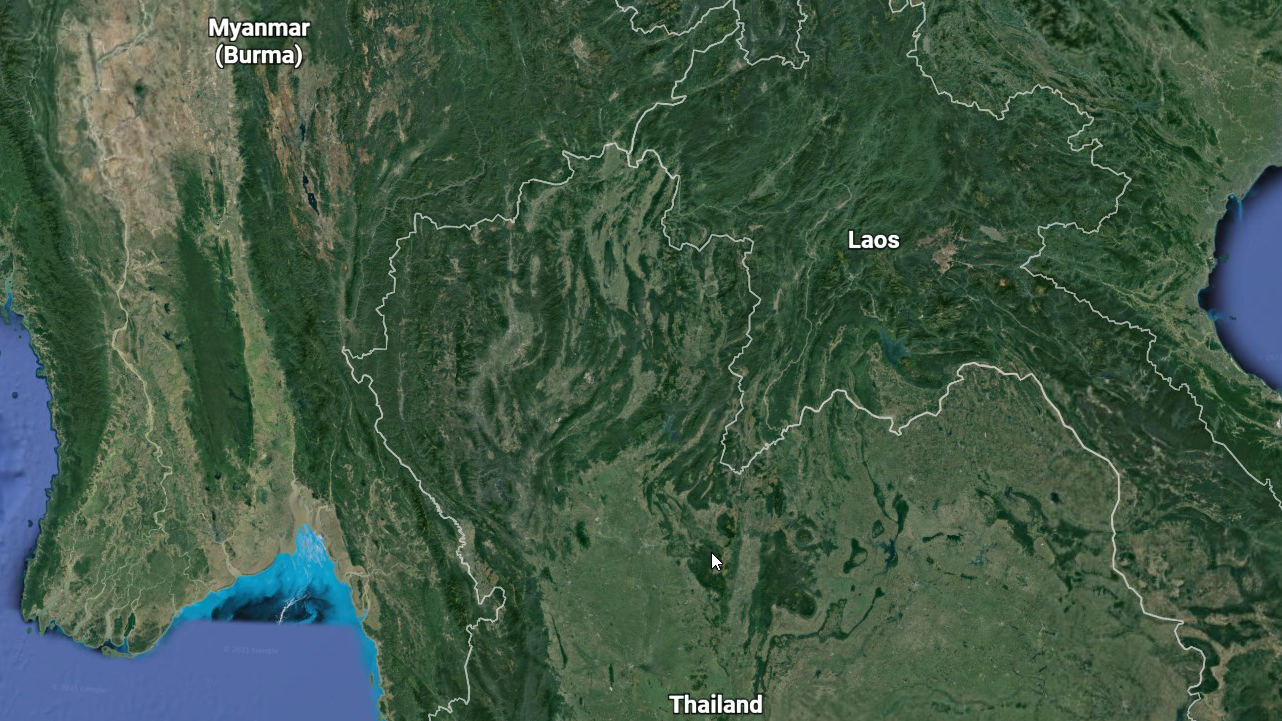 A map of Thailand, Burma and Laos