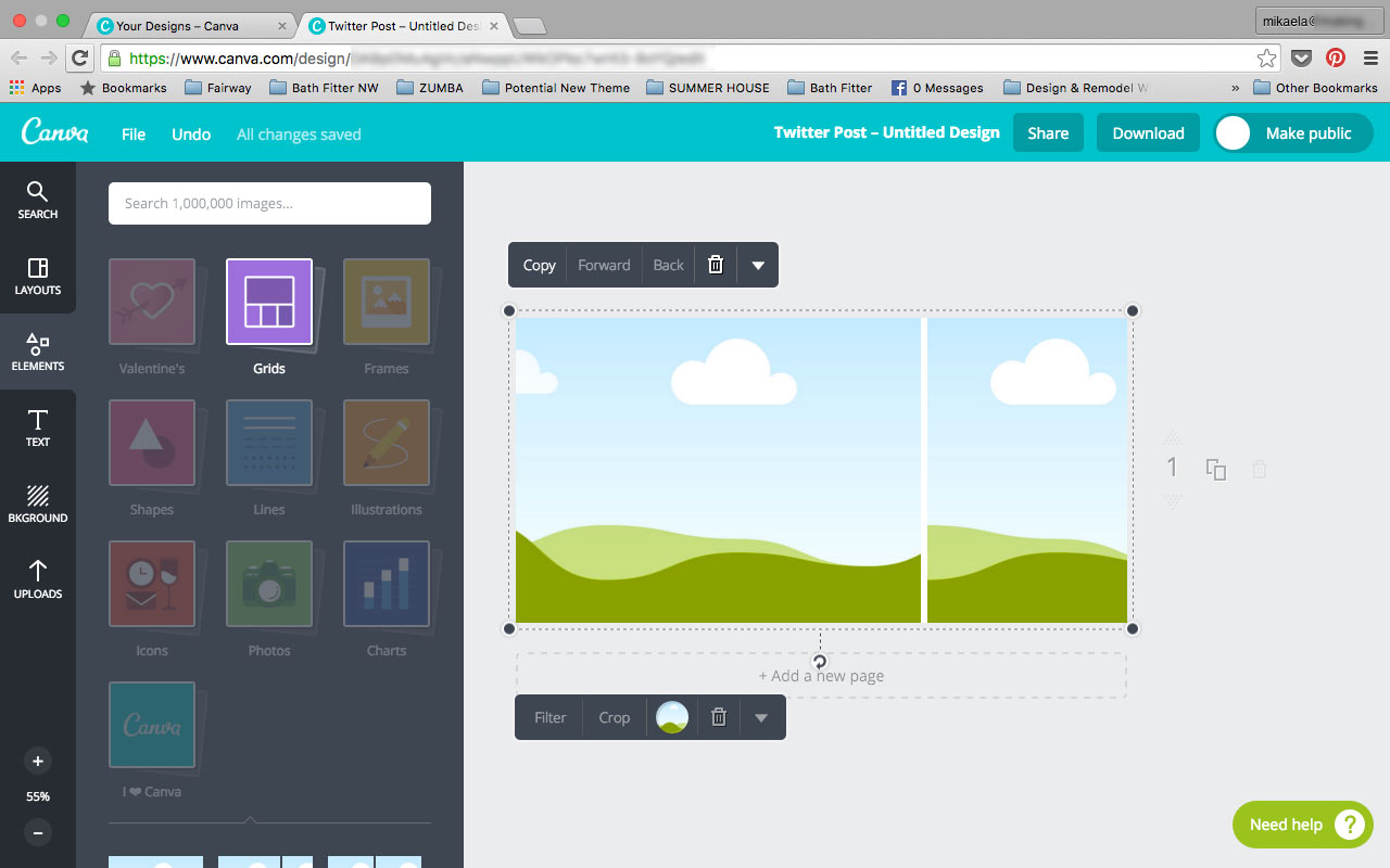 Canva Element Tab Grids