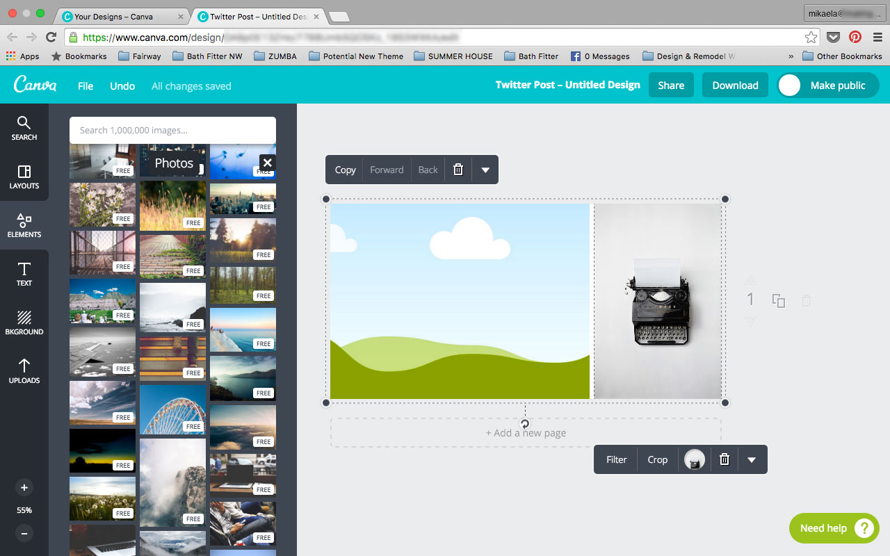 Pick a photo under the Canva Elements Tab Photos