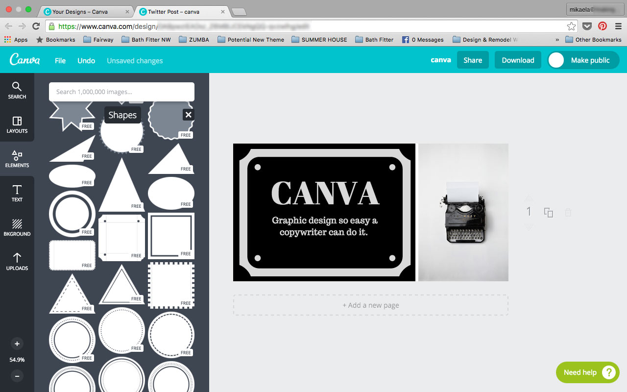 Personalize your image with shapes from the Canva Elements Shape Tab