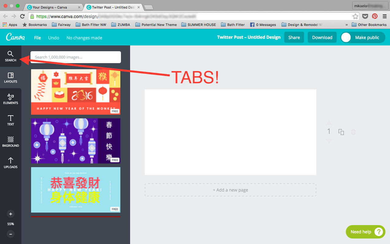 Tabs within Canva