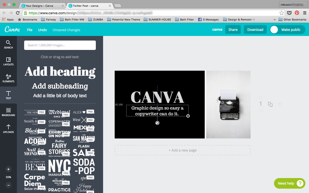 Create a Customized Message with Font options from the Canva Text tab.