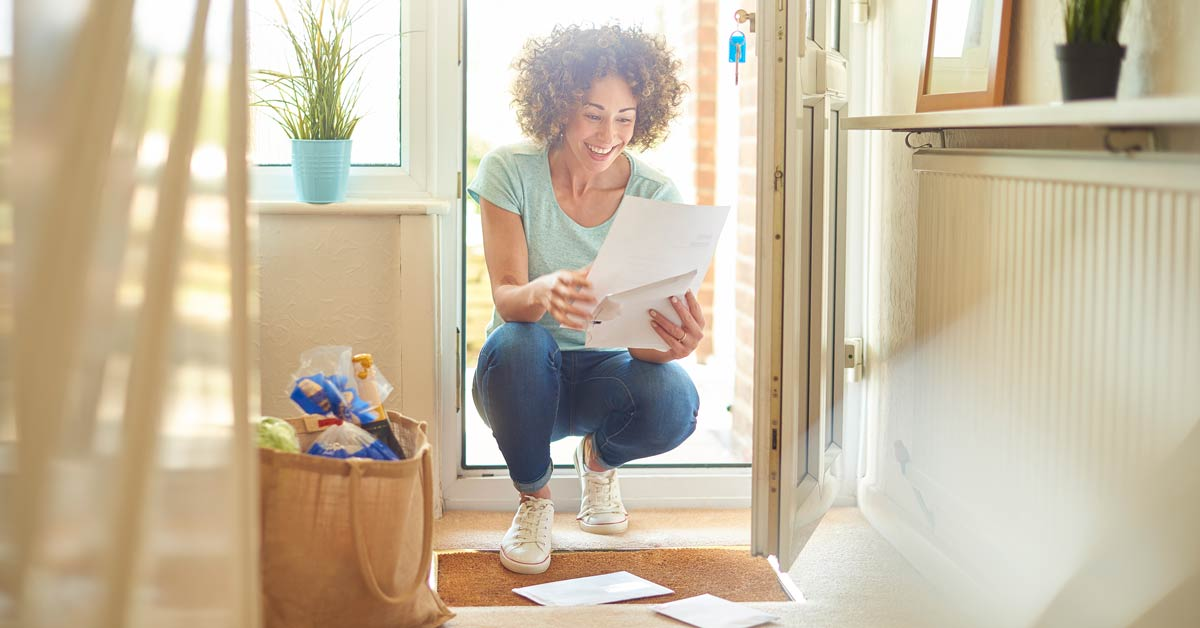 Happy Woman Receives Letter