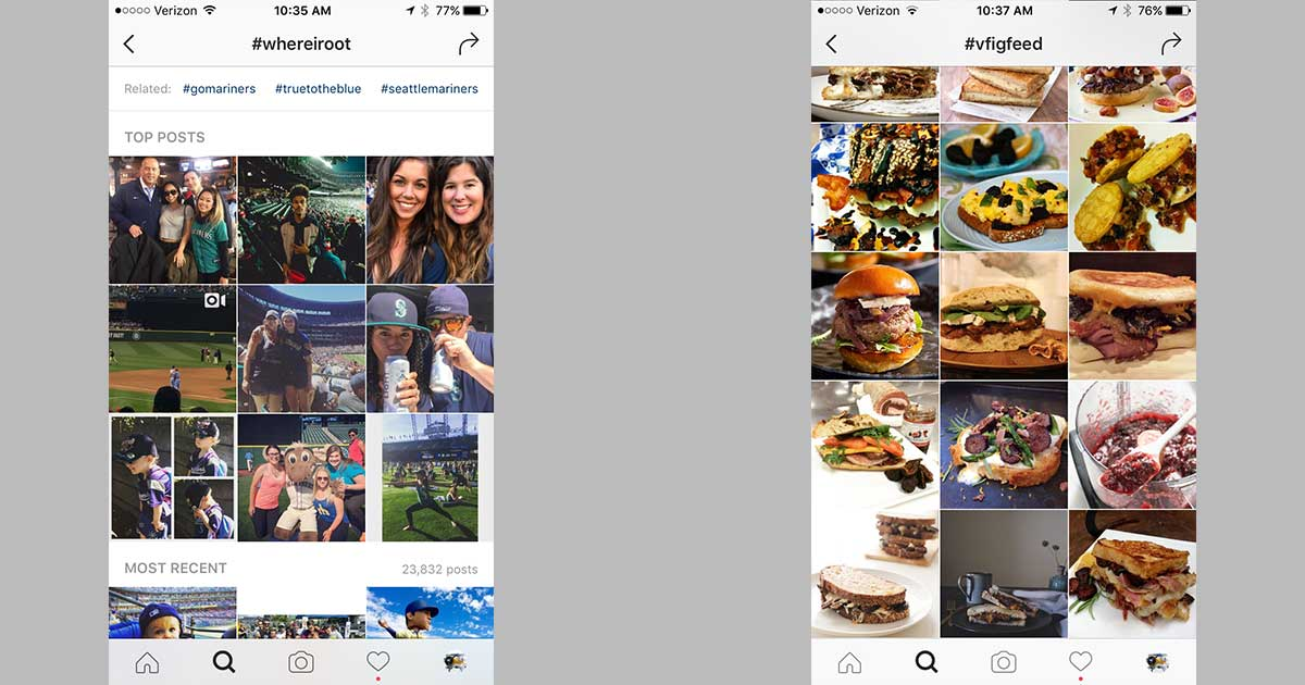 Examples of Instagram hashtags being used