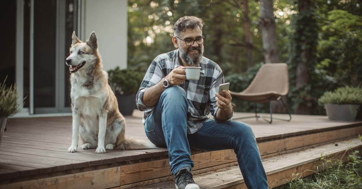 man and dog outside