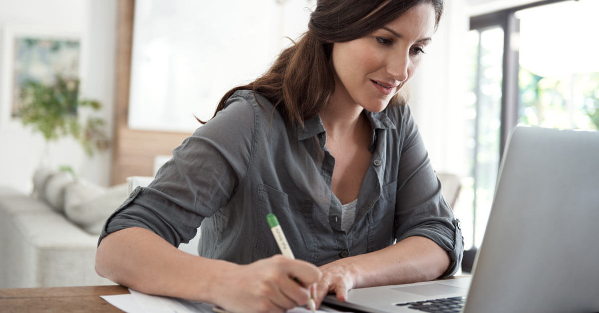 woman reviewing data