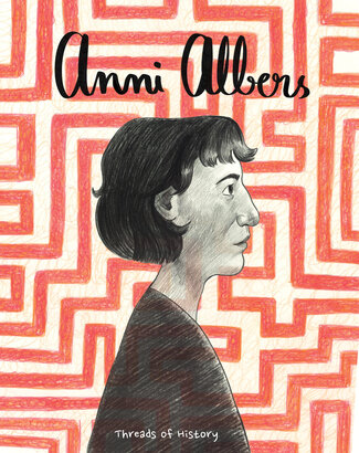 """A woman stands in profile, only her head and shoulders in the frame. The background is a maze of red and white lines. Text reads, """"Anni Albers: Threads of History."""""""