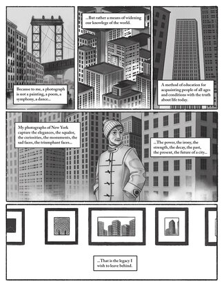 Panel one: A black-and-white image of the Brooklyn Bridge with apartment buildings in the foreground. Text reads,
