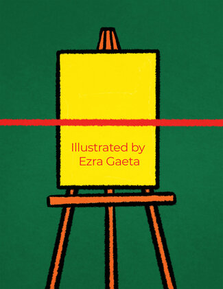 """An easel with the words """"Illustrated by Ezra Gaeta"""" on yellow canvas stands against a green background."""