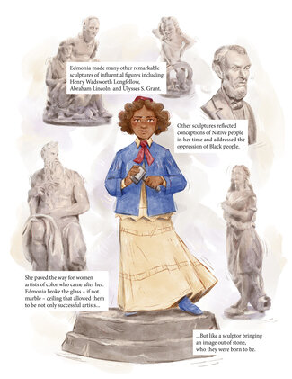 """Panel one: Edmonia stands on a platform in her blue jacket, cream shirt and full skirt, red necktie and sculptor's cap. She holds a mallet in her hand and looks out from the page. She's surrounded by drawings of her sculptures. Text reads, """"Edmonia made many other remarkable sculptures of influential figures including Henry Wadsworth Longfellow, Abraham Lincoln, and Ulysses S. Grant. Other sculptures reflected conceptions of Native people in her time and addressed the oppression of Black people. She paved the way for women artists of color who came after her. Edmonia broke the glass - if not marble - ceiling that allowed them to be not only successful artists ...But like a sculptor bringing an image out of stone, who they were born to be."""""""