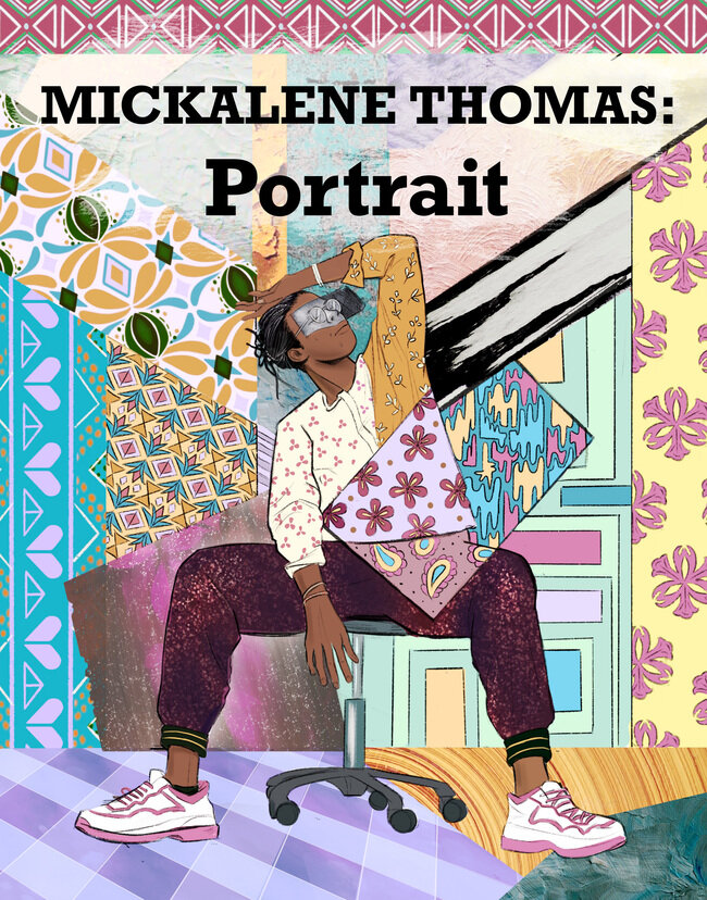 """Black woman sitting on a chair in the center of the cover with her hand resting on her forehead set against a patchwork background of colorful geometric and floral patterns. Text at the top of the page reads """"Mickalene Thomas: Portrait"""""""
