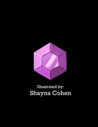 """Alt Text: Purple gemstone against a black background with text, """"Illustrated by: Shayna Cohen"""""""