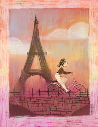 Romaine as a young woman bikes across a bridge with the Eiffel Tower and a sunset in the background.