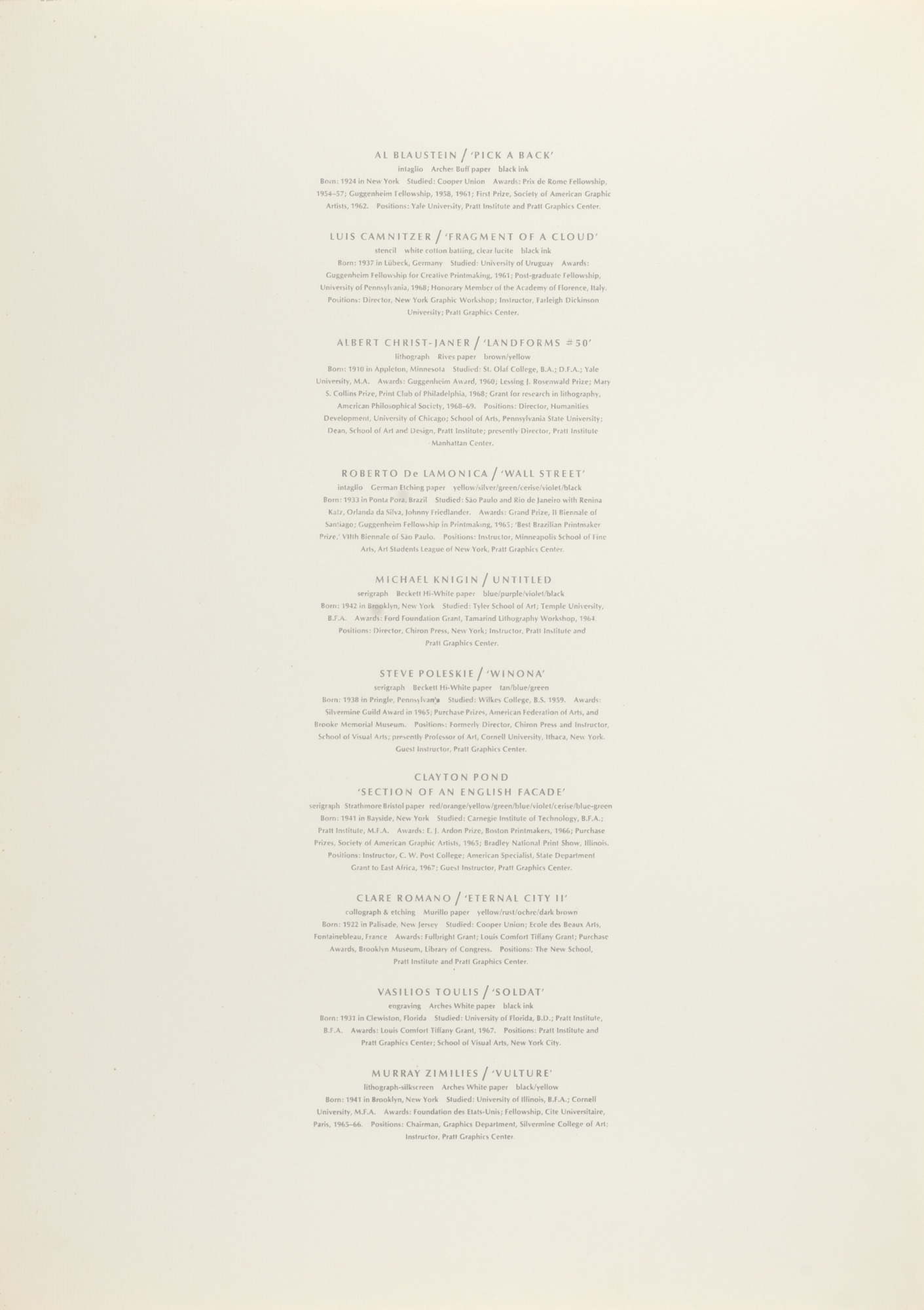 Page Listing Artists | Smithsonian American Art Museum