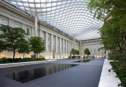 This is a picture inside the Kogod Courtyard at the Smithsonian American Art Museum.