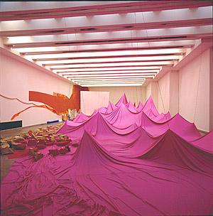 A photograph inside a room with pink mountains made of bathing suit material.