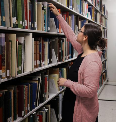 An image inside the stacks of the AAPG Library.