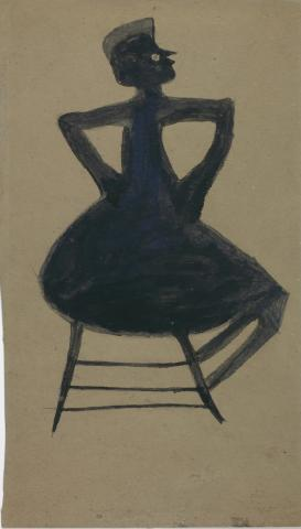 A drawing in black of a woman sitting down on a chair.