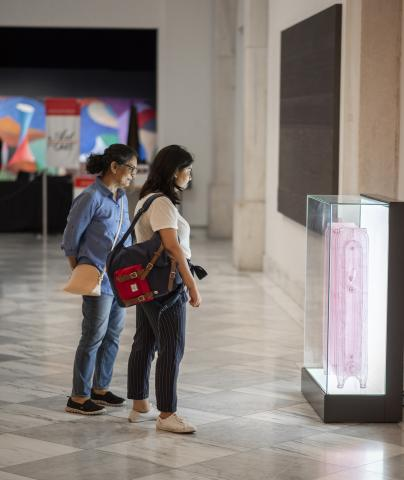 A photograph of two women in the gallery looking at art.