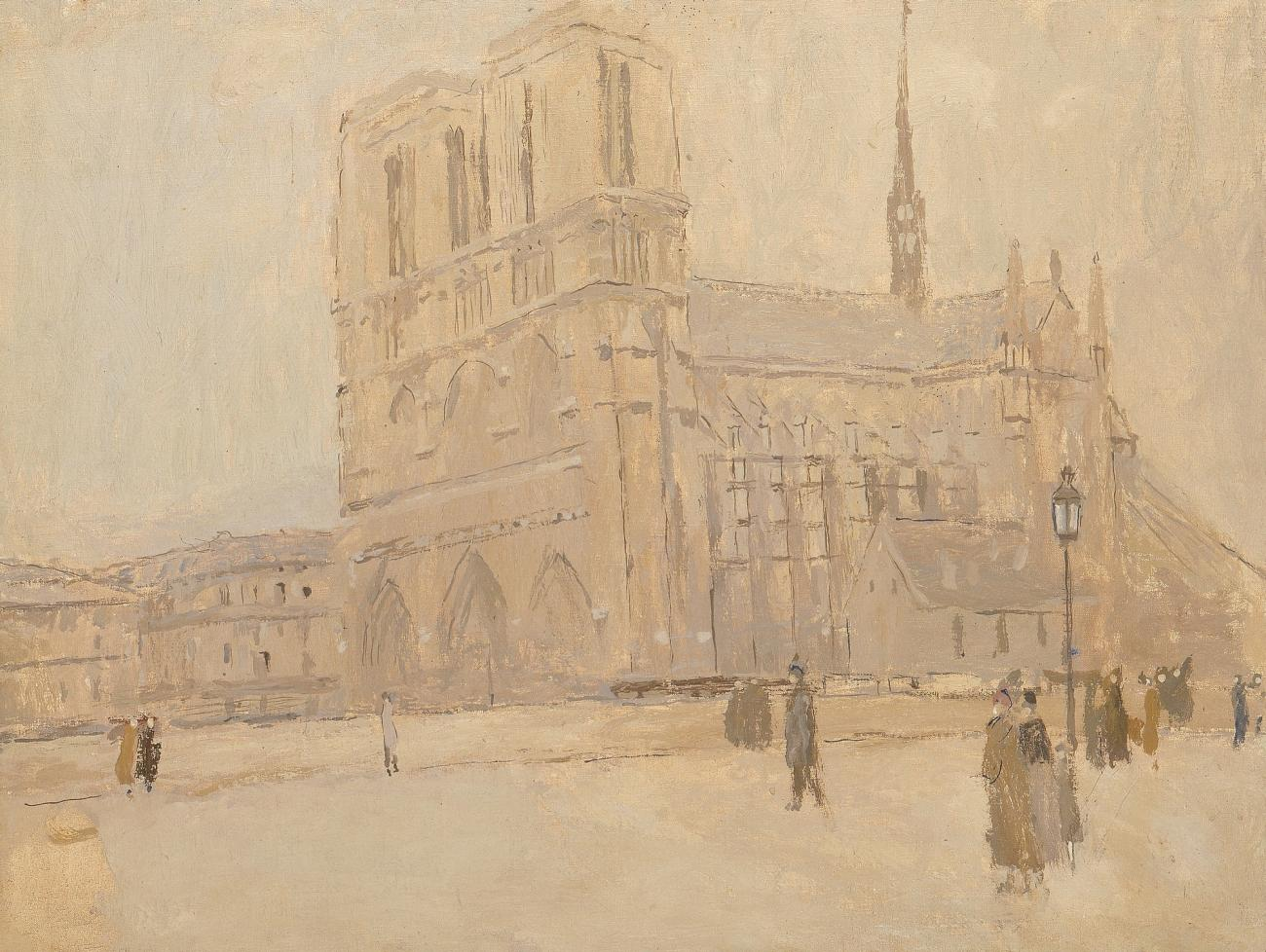 A winter scene of the great cathedral by Frank Edwin Scott