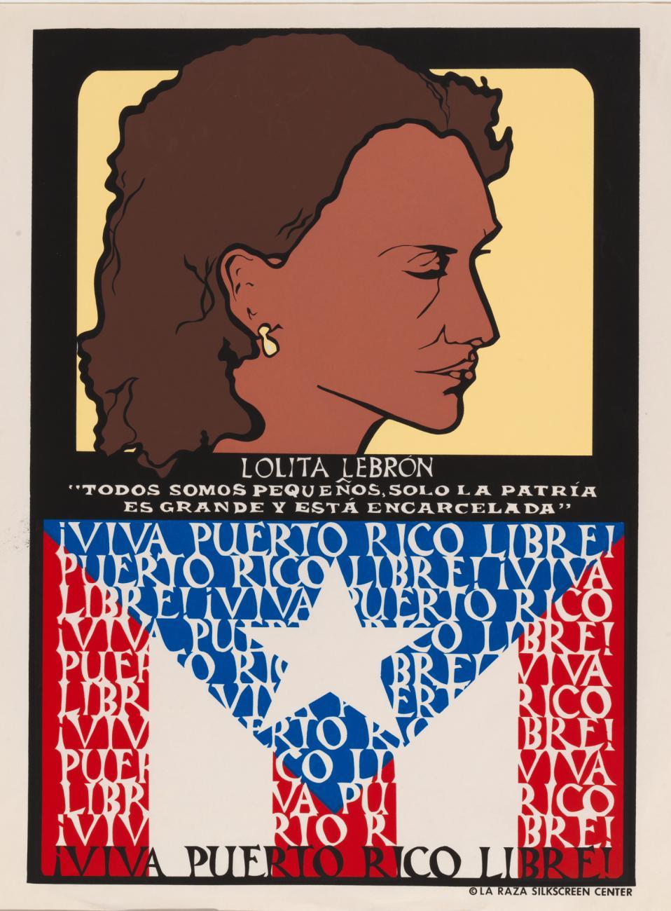 Linda Lucero, screenprint on paper: Lolita Lebron (1975)