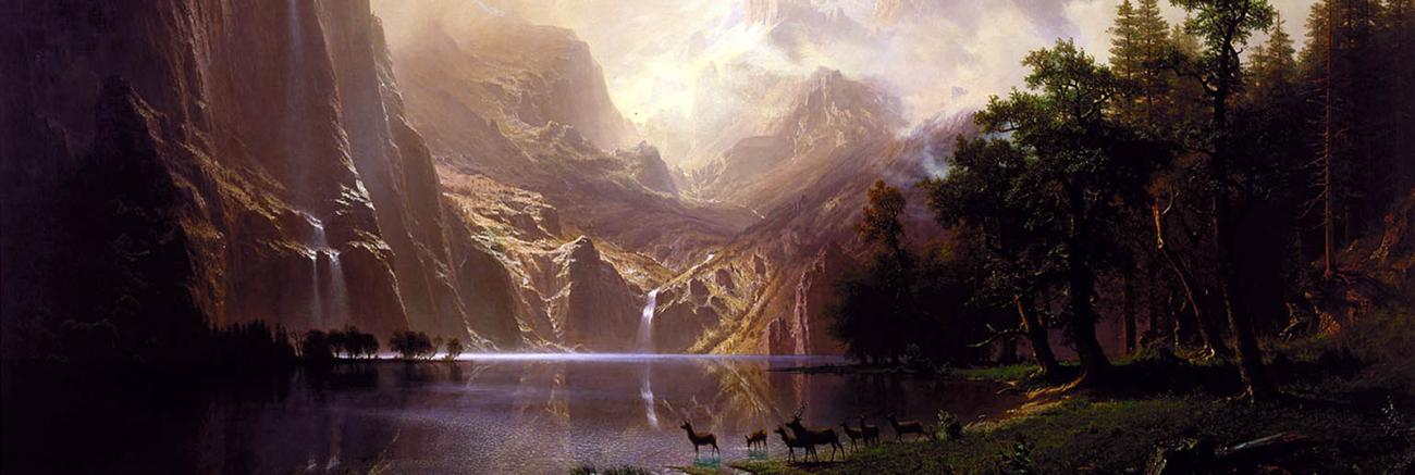 Detail of the painting Among the Sierra Nevada by Albert Bierstadt