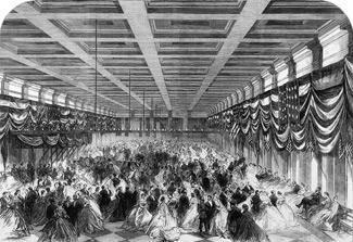 This is a drawing of President Lincoln's inaugural ball