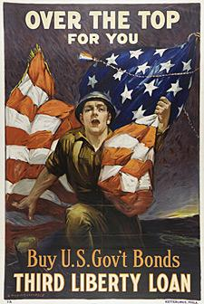 This is a US government bonds poster with a man carrying an American flag