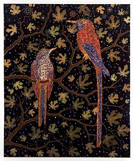 An image of two red and blue birds in a tree at night