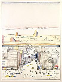 A perspective drawing of a city and the landscape in the background.