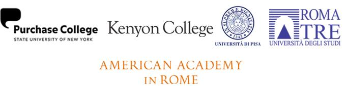 Purchase college logo, Kenyon college logo, Universita di Pisaa logo, Roma Tre logo, and American Academy in Rome logo