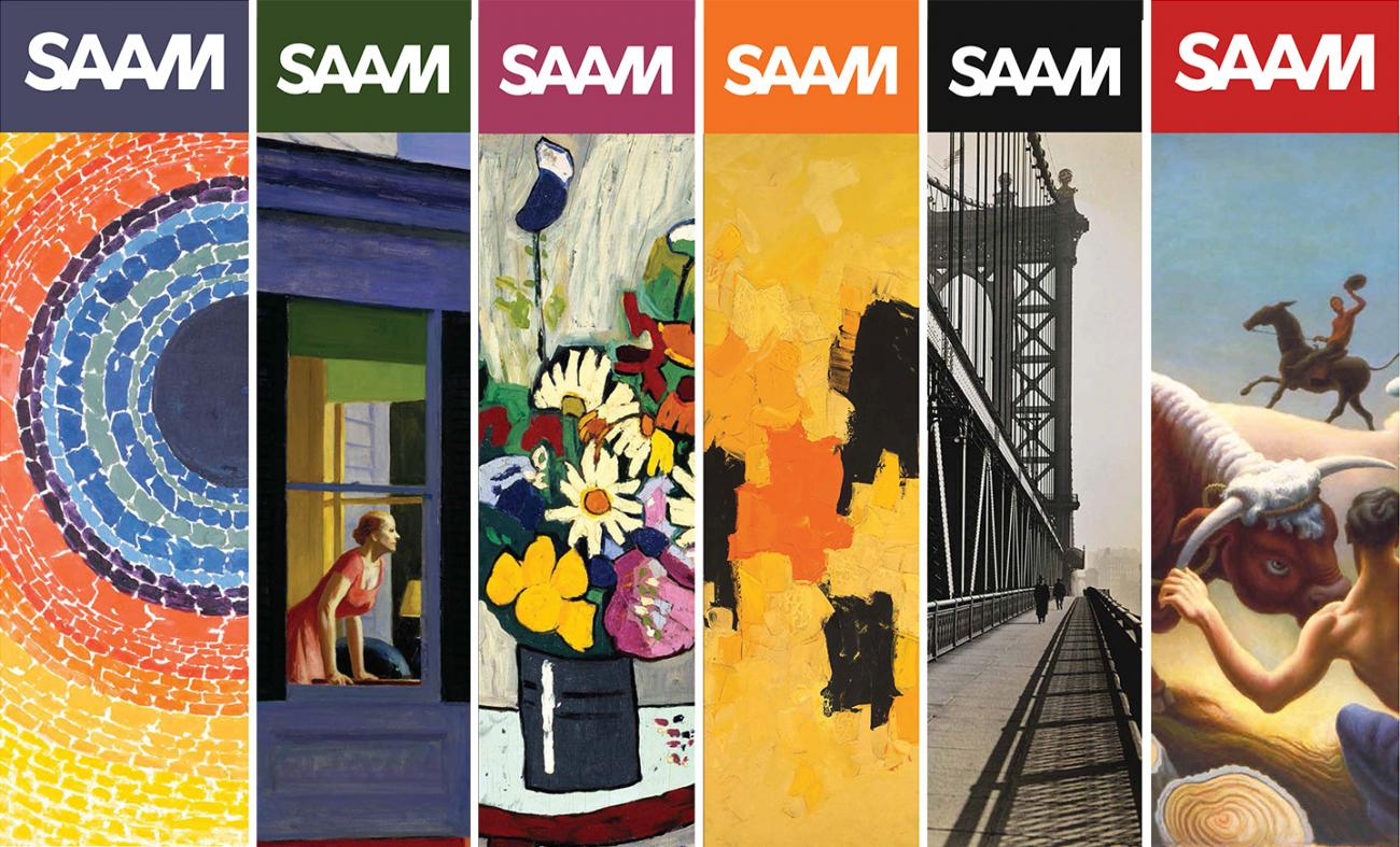 A digital reproduction of six banners at the Smithsonian American Art Museum.