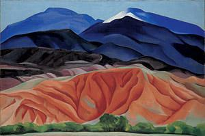 This is a landscape panting of mountains in New Mexico.