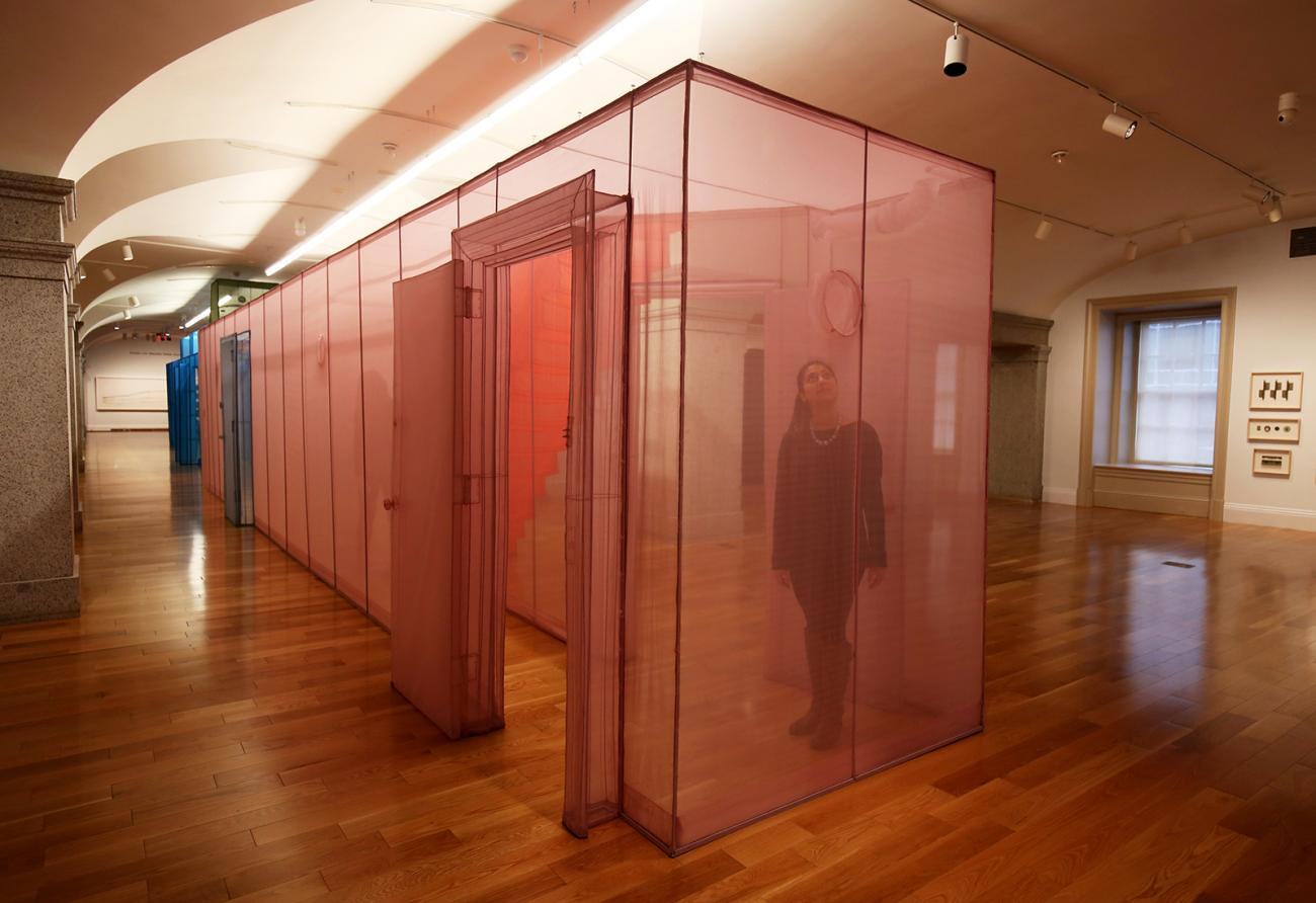 This is an image inside Do Ho Suh's Almost Home of his pink hub.