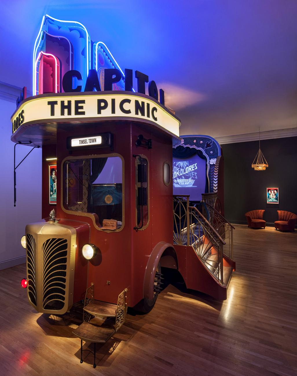 An image of capitol theater, a portable movie theater inside the Renwick Gallery.