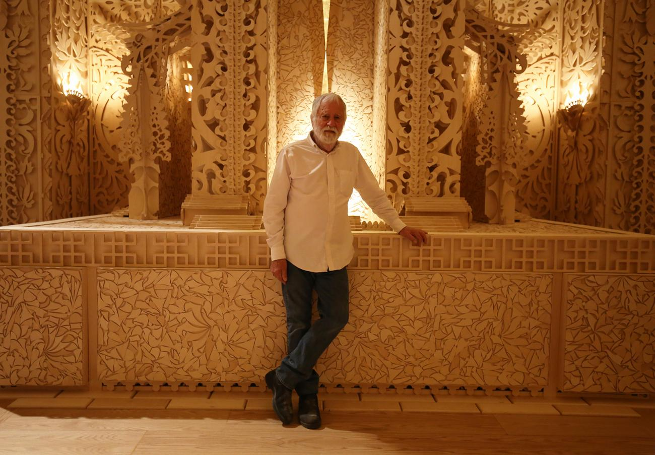 David Best in front of his Temple at the Renwick Gallery.