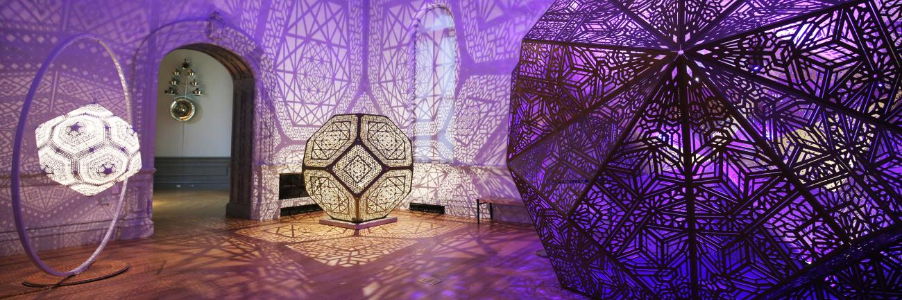 An installation view of HYBYCOZO's work for No Spectators: The Art of Burning Man at the Renwick