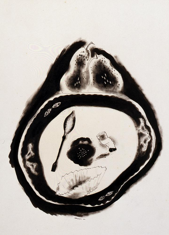 An ink drawing of a plate with leftover food.
