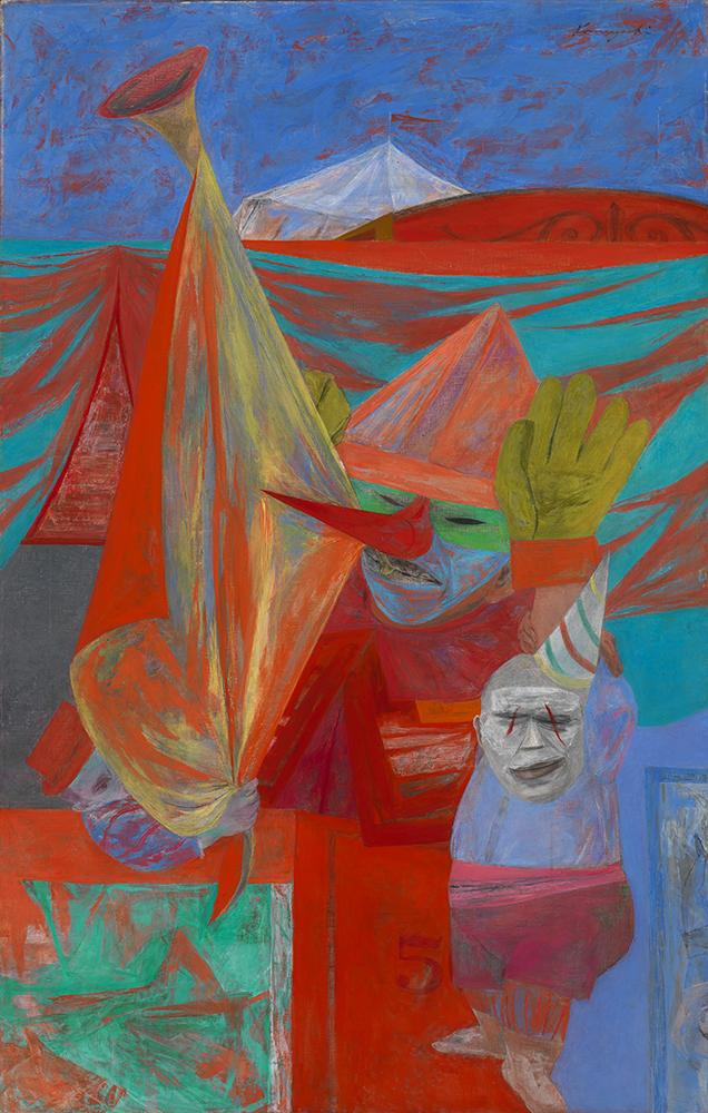 A colorful painting of two clown figures.