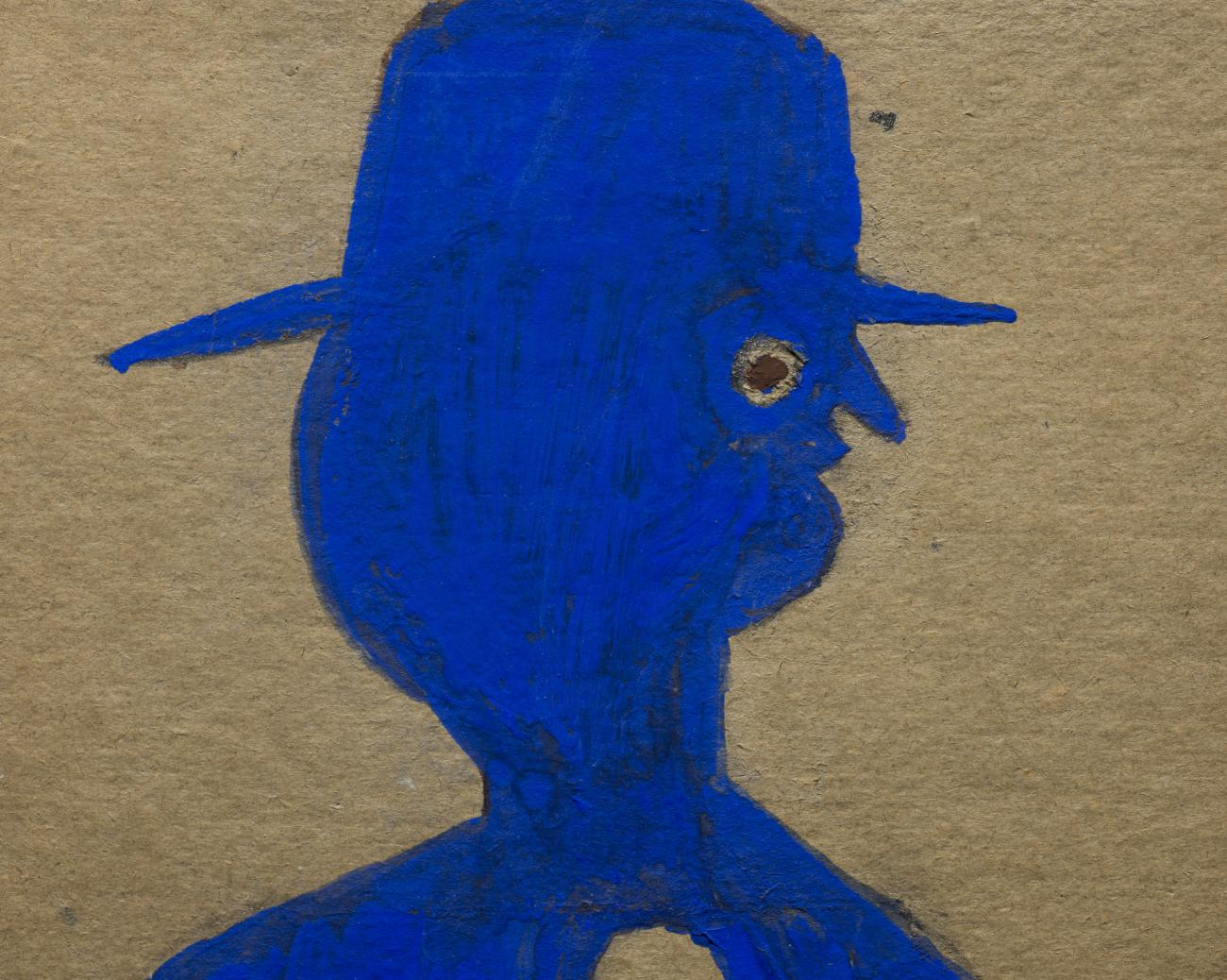 This is a detail image of Bill Traylor's drawing of a blue man with a hat and button down shirt.